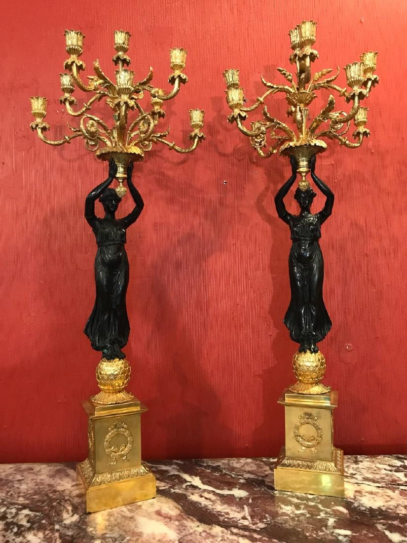 Fine Pair Of French Empire Candelabra.