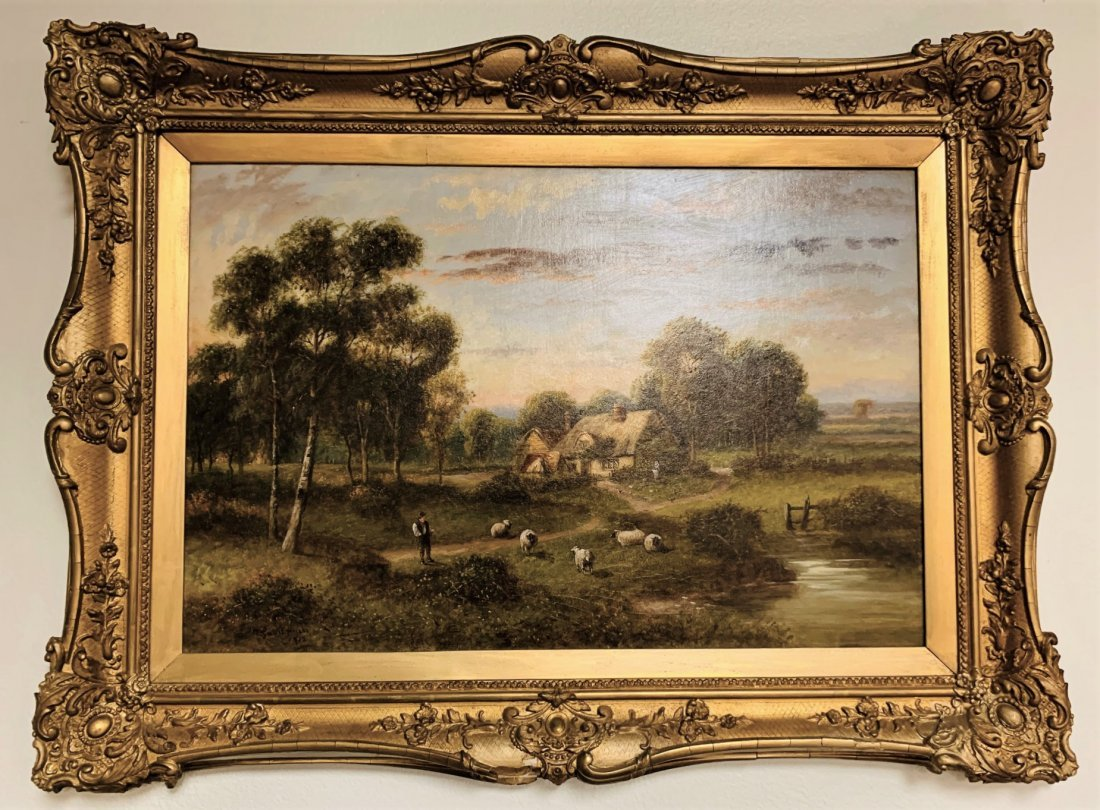 Antique English Oil On Canvas Painting.