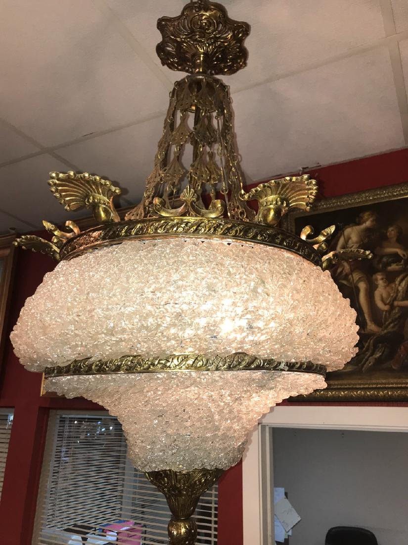 French Brass And Crystal Chandelier.
