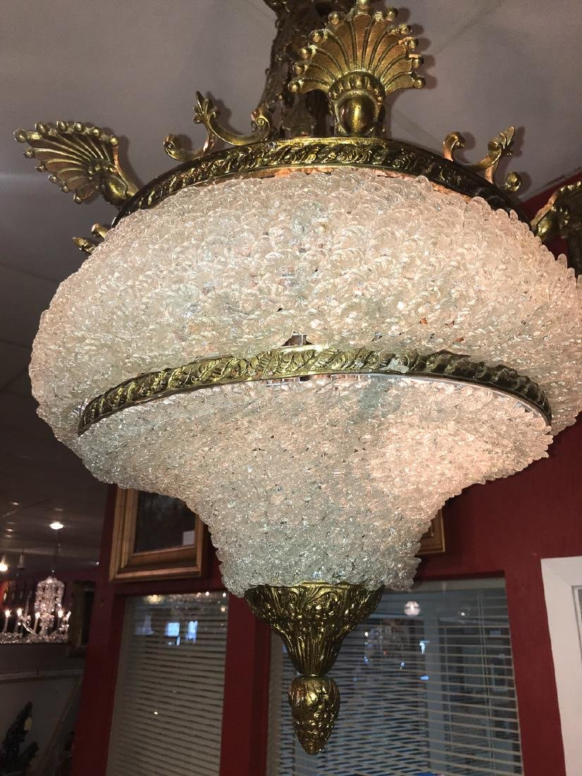 French Brass And Crystal Chandelier. - 4