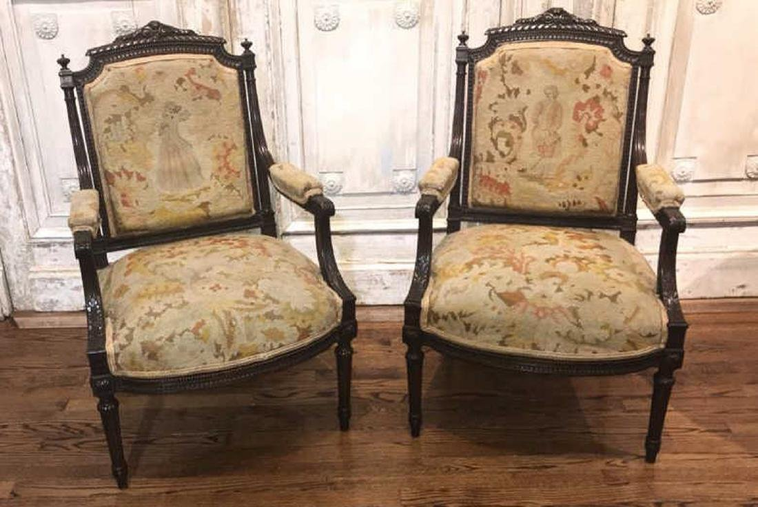 Antique Pair Of French Armchairs.