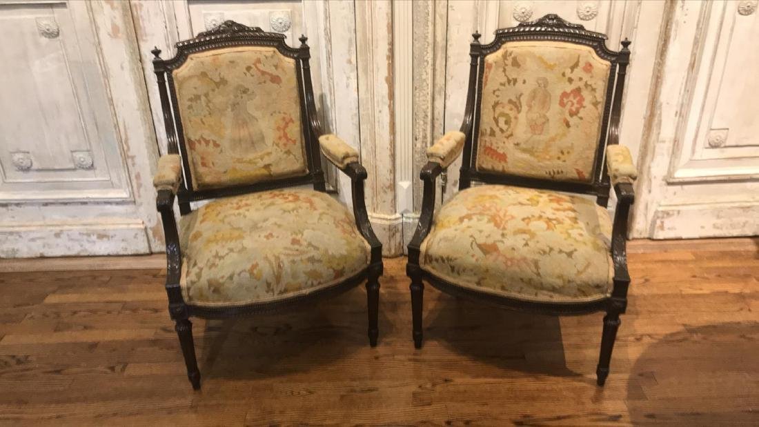 Antique Pair Of French Armchairs. - 2