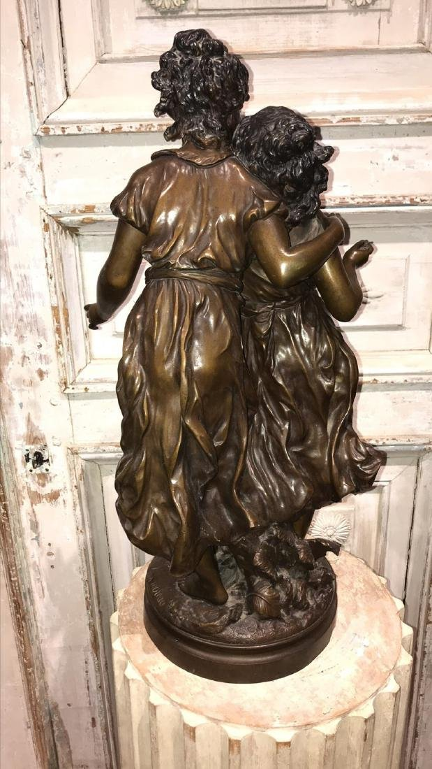 Moreau Signed Bronze Sculpture, 2 Young - 2