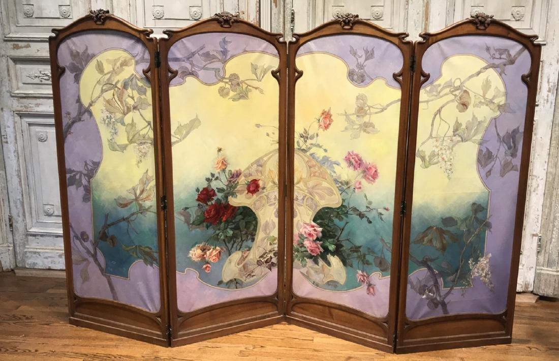 Art Nouveau Mahogany 4-panel Screen