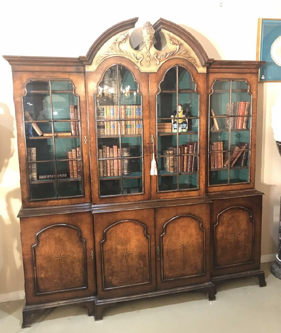 English Walnut Breakfront Bookcase.