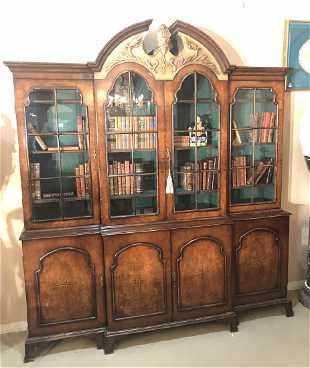 bf83946300d1 English Walnut Breakfront Bookcase.