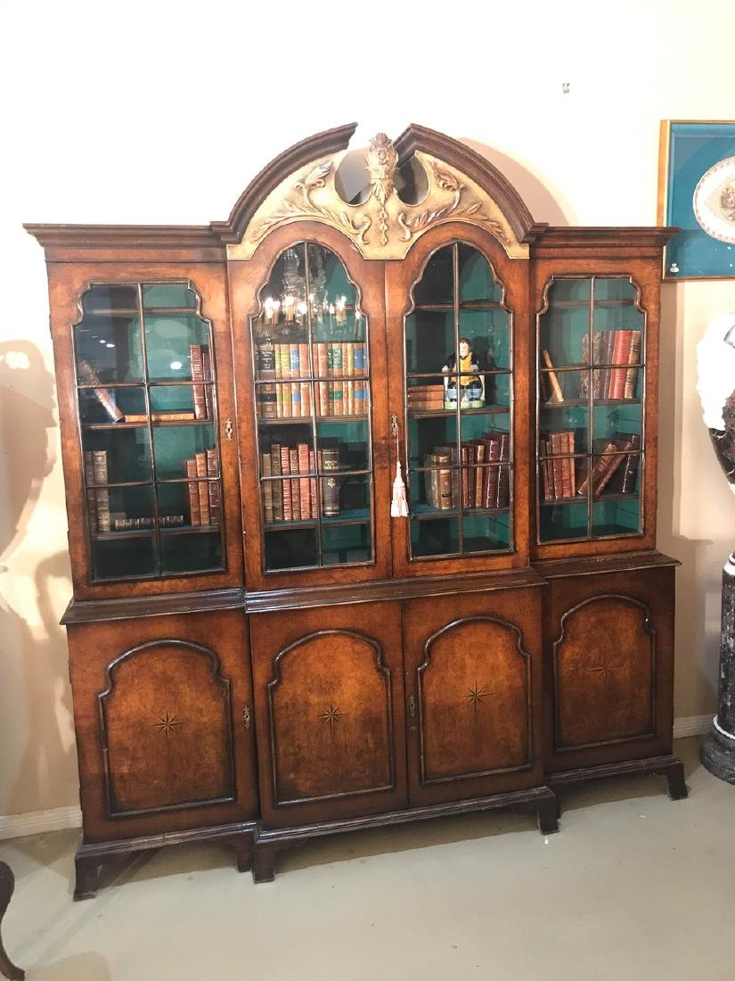 English Walnut Breakfront Bookcase. - 2