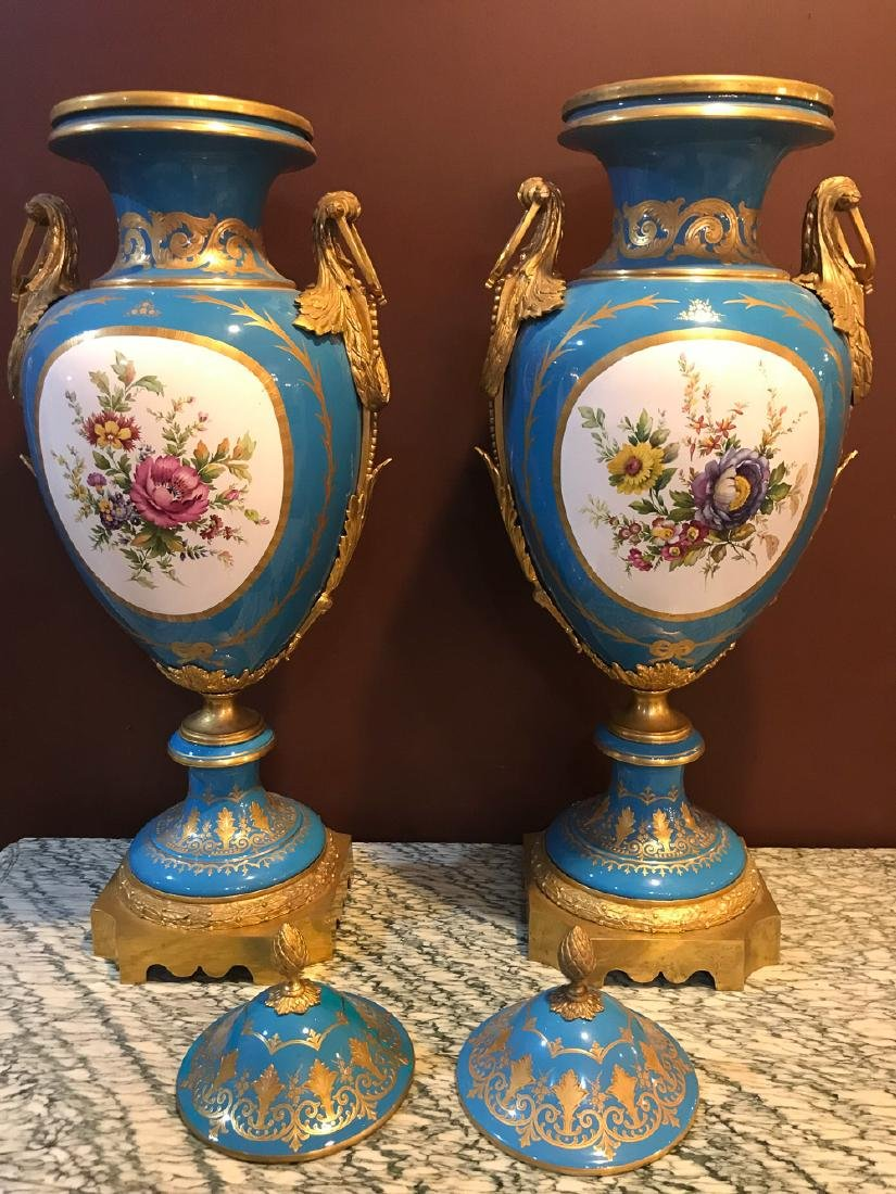 Pair Of Antique French Sevres Vases, - 7