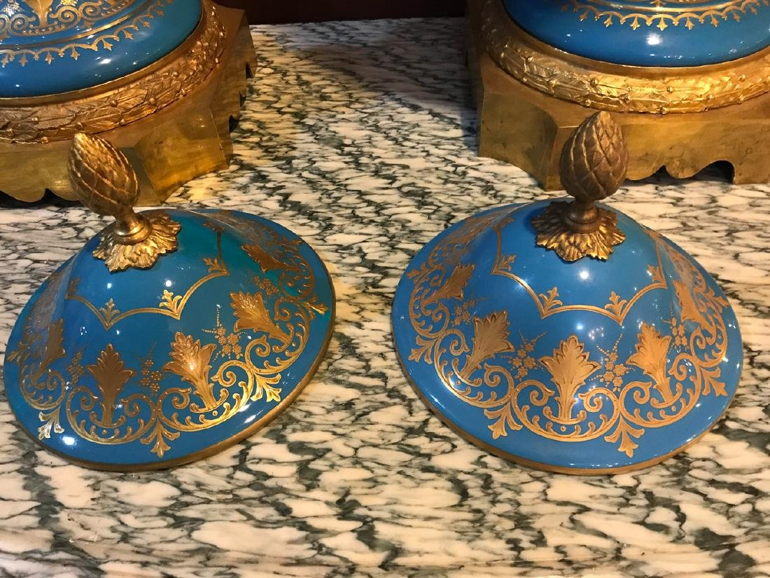 Pair Of Antique French Sevres Vases, - 8