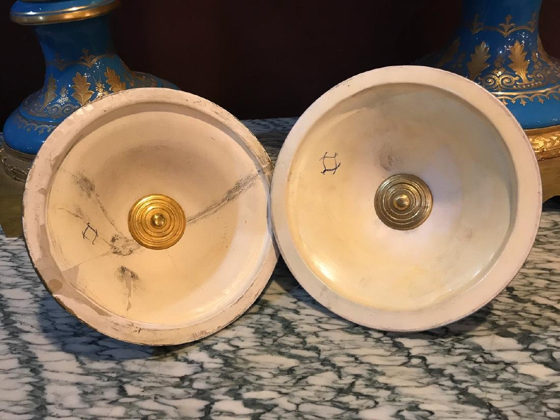 Pair Of Antique French Sevres Vases, - 9