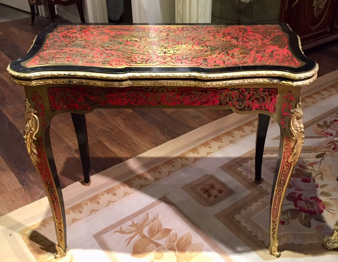 Antique French Boulle Gaming Table.