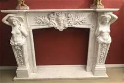 French Carrara Marble Fireplace Surround.