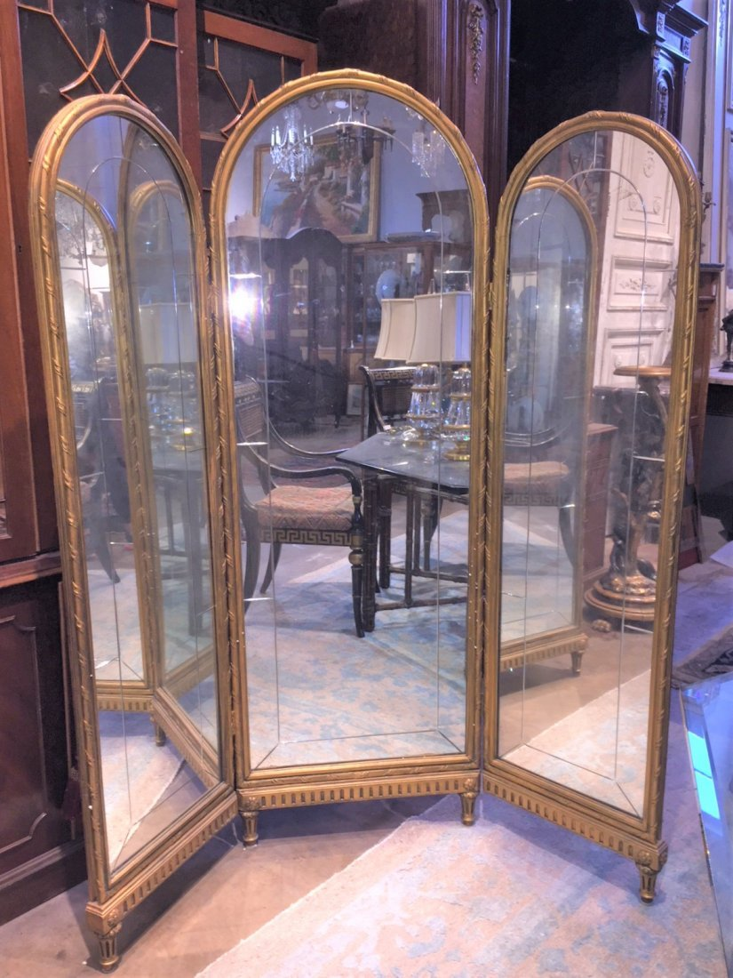 French Mirrored Dressing Screen.