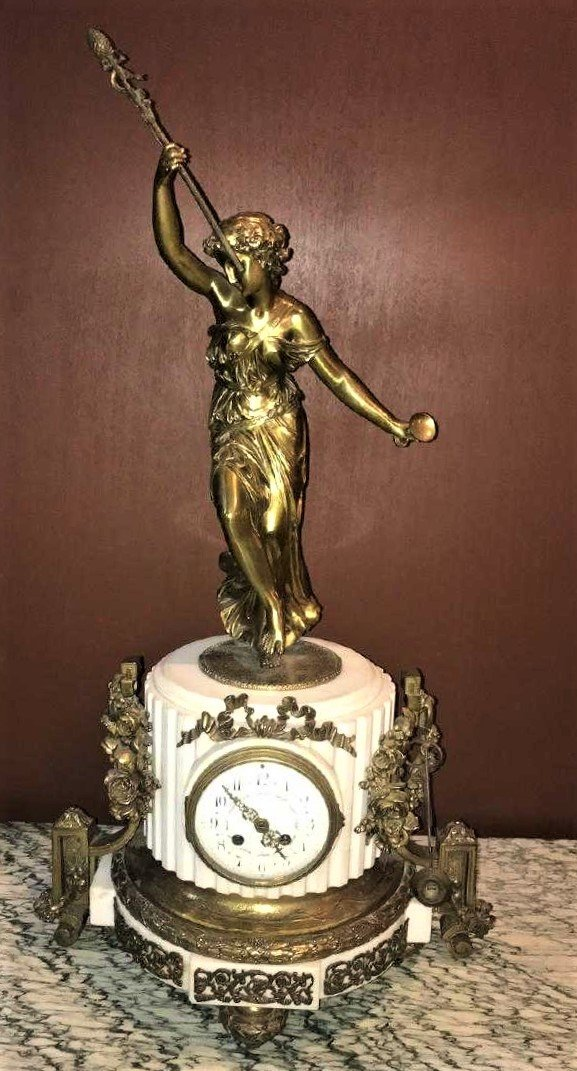 Antique French Bronze & Marble Clock.