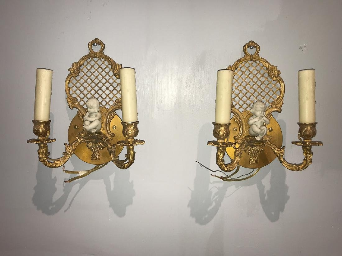 Pair Of French Gilt Bronze Sconce With Putti