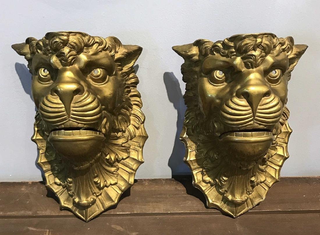 Pair Of French Bronze Lion Wall Appliqued Sconce