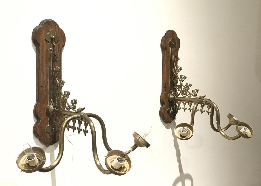 Pair Of Gothic Brass 3-light Wall Sconce