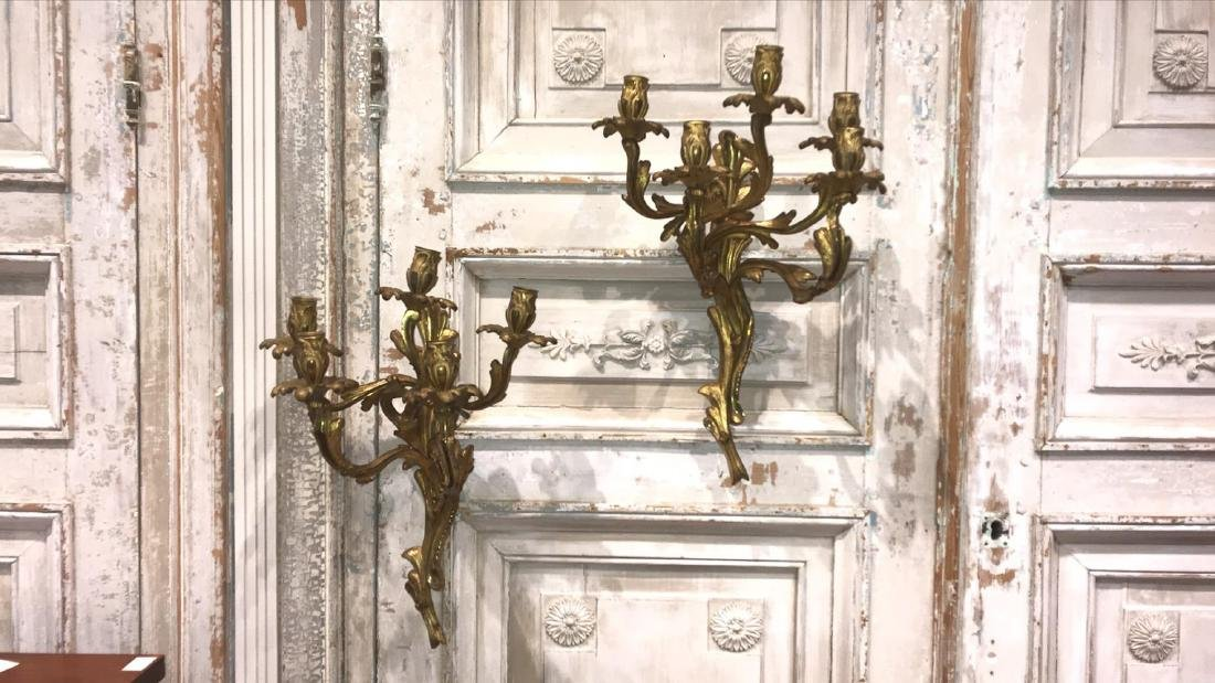 Pair Gilt Bronze Sconces.