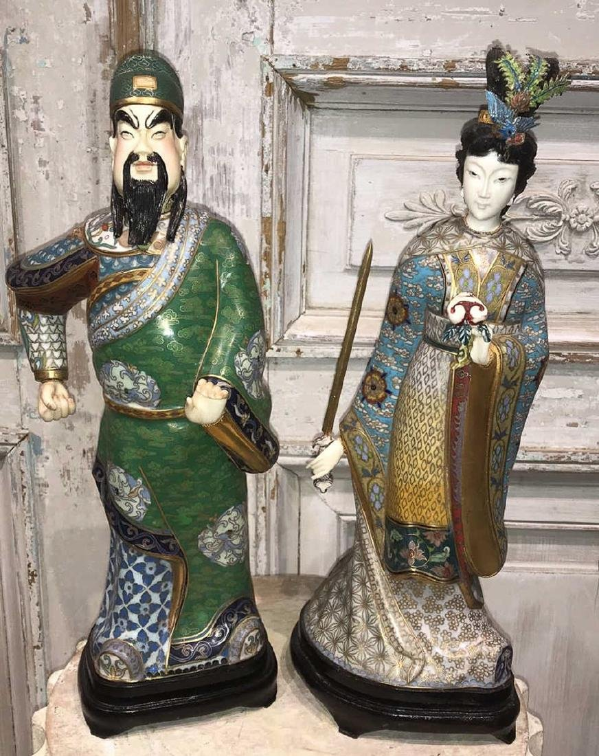 Pair Of Chinese Cloisonne Figures