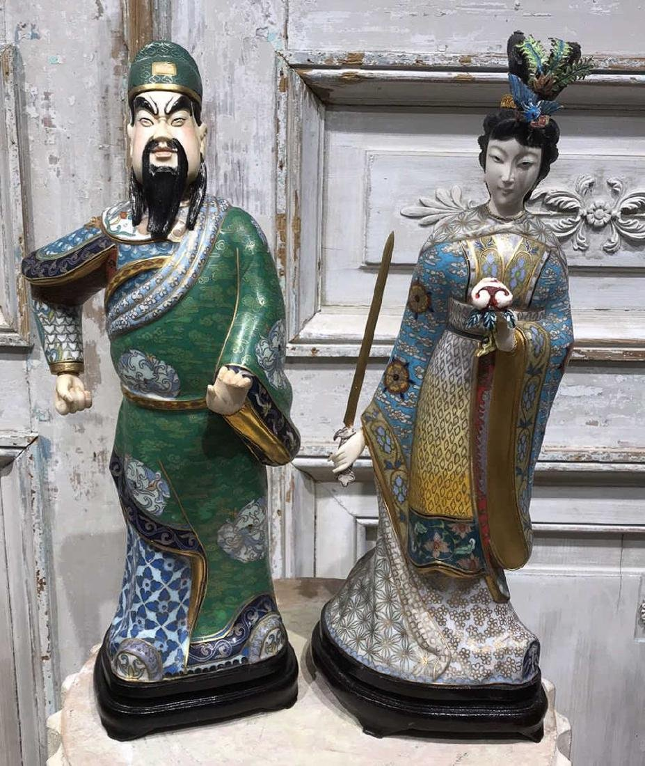 Pair Of Chinese Cloisonne Figures - 2