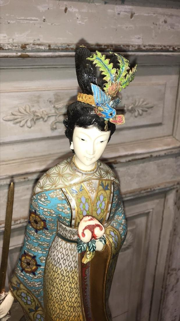 Pair Of Chinese Cloisonne Figures - 3