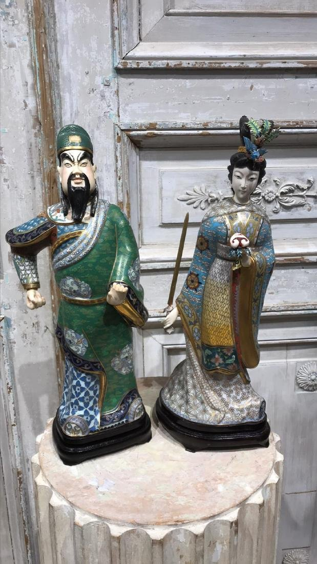 Pair Of Chinese Cloisonne Figures - 5