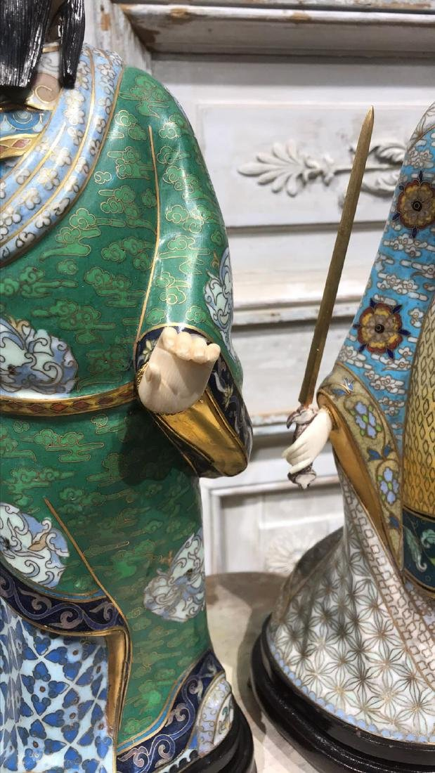 Pair Of Chinese Cloisonne Figures - 8