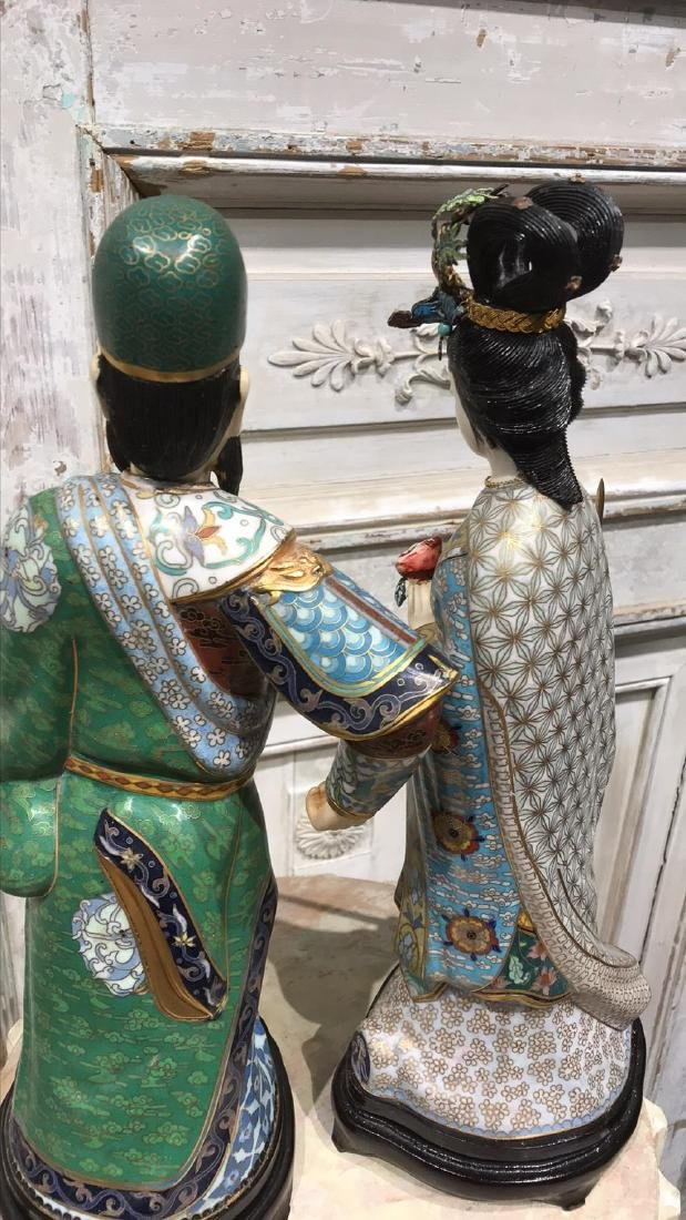 Pair Of Chinese Cloisonne Figures - 9