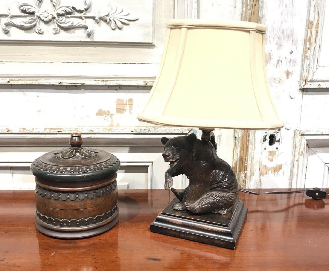 2 Black Forest Carved Desk Accesories