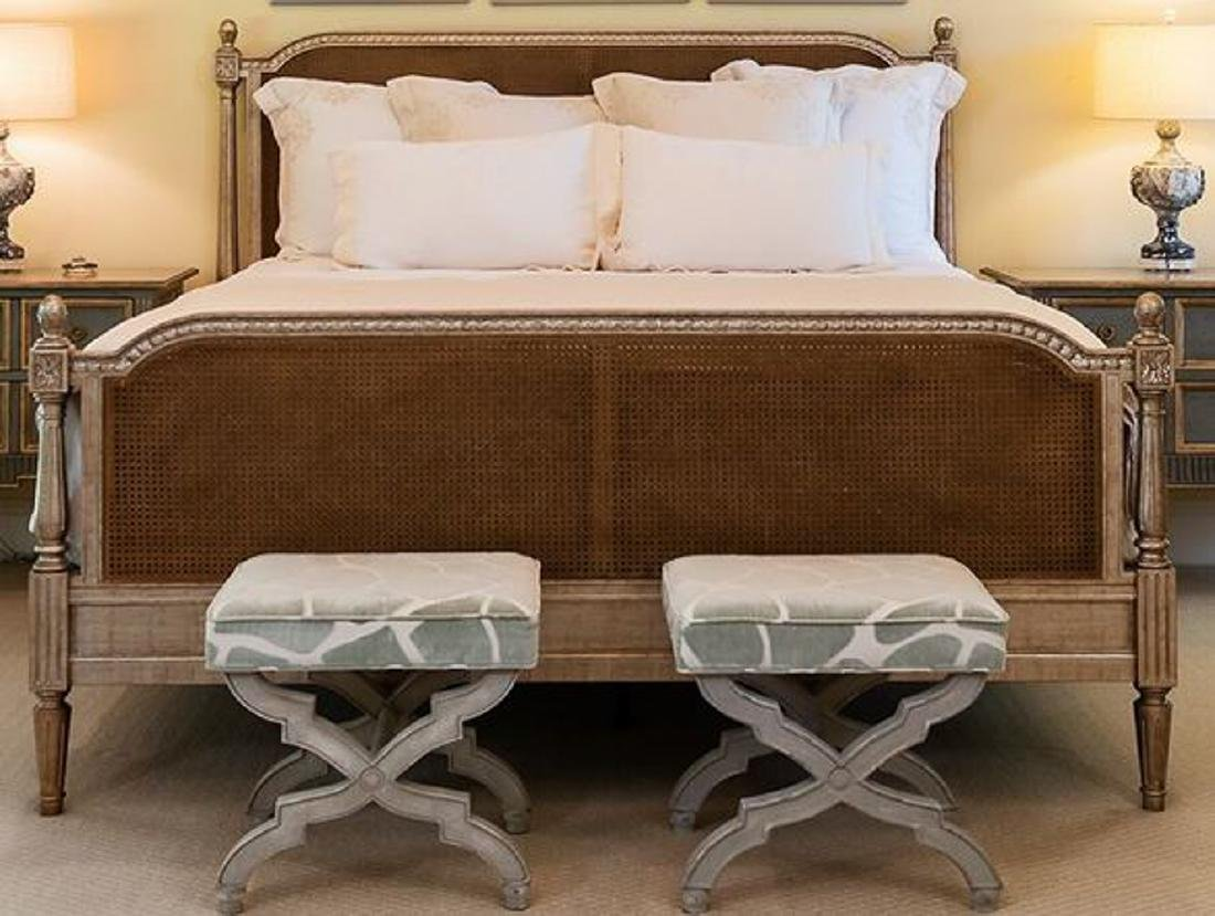 King Bed With Cane And Silver Gilding