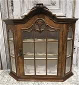 19th C. French Burl Walnut Hanging Cabinet