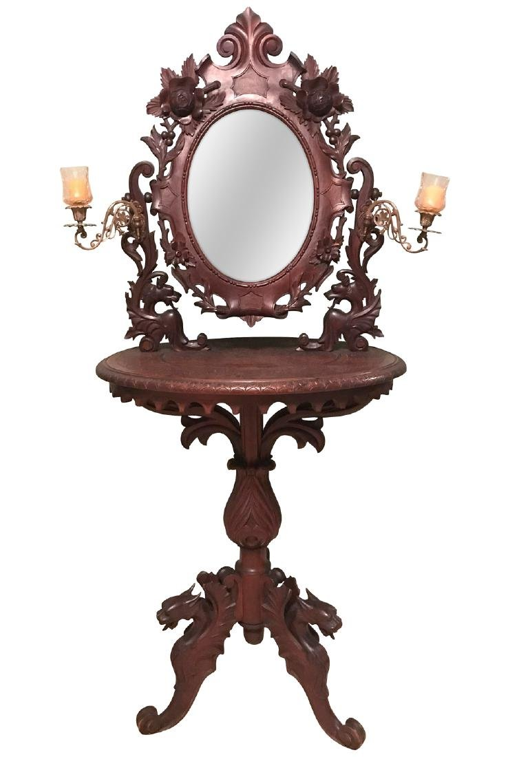 19th C. Black Forest Carved Walnut Shaving Stand