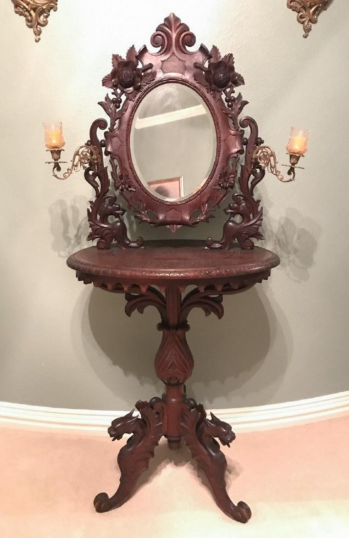 19th C. Black Forest Carved Walnut Shaving Stand - 4