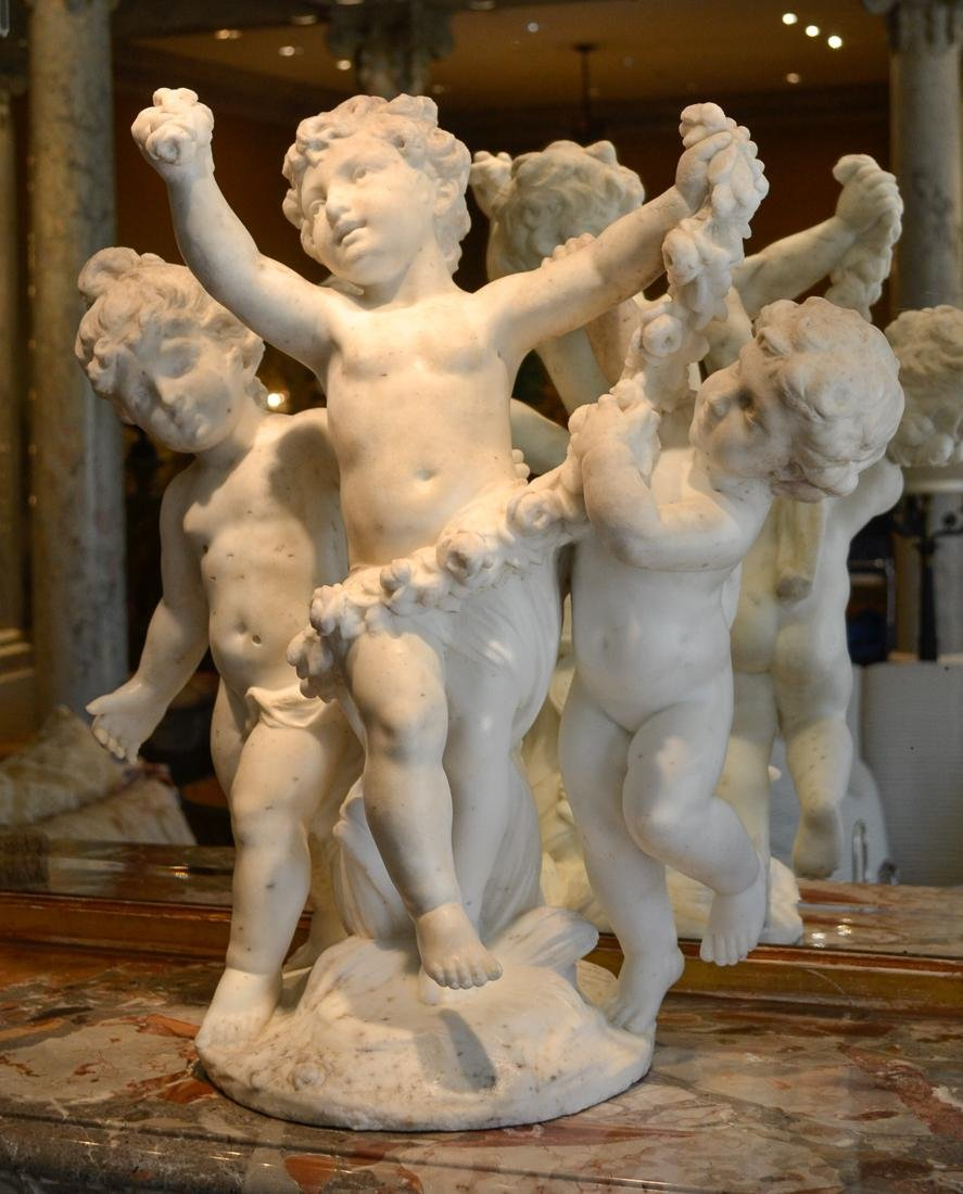Antique French Marble Of 3 Children.