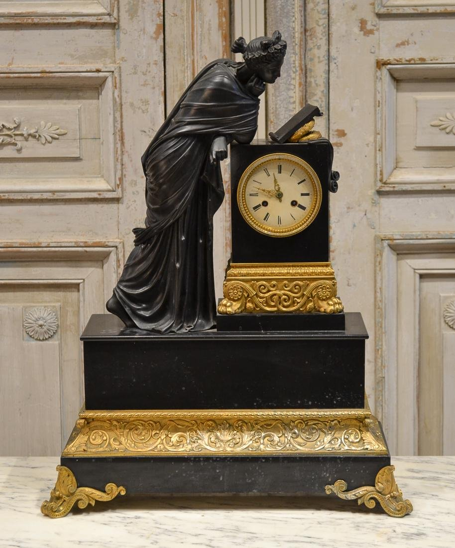French Bronze & Marble Clock, C. 1890.