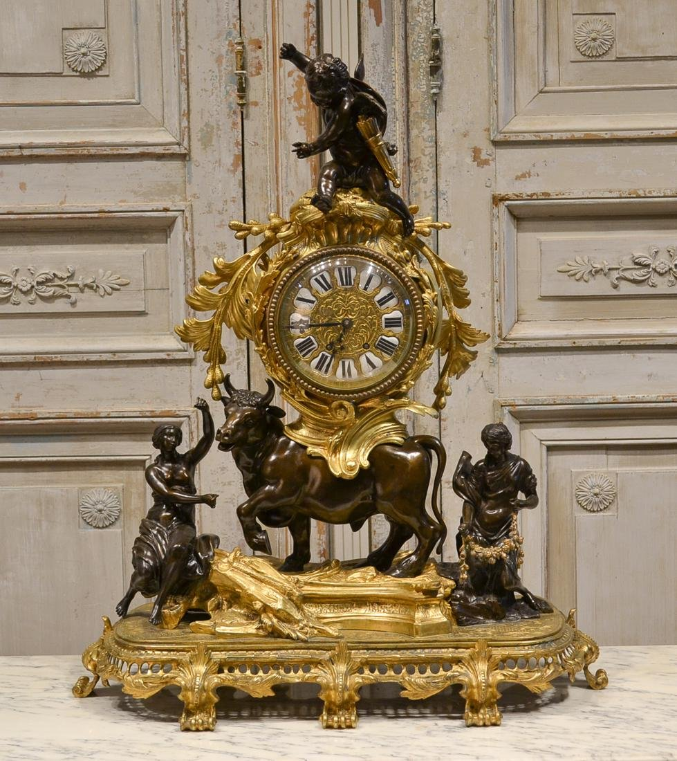 19th C. French Bronze Clock.