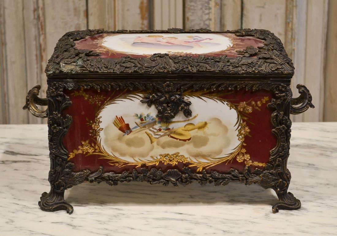 19th C. Sevres Painted Porcelain Table Casket