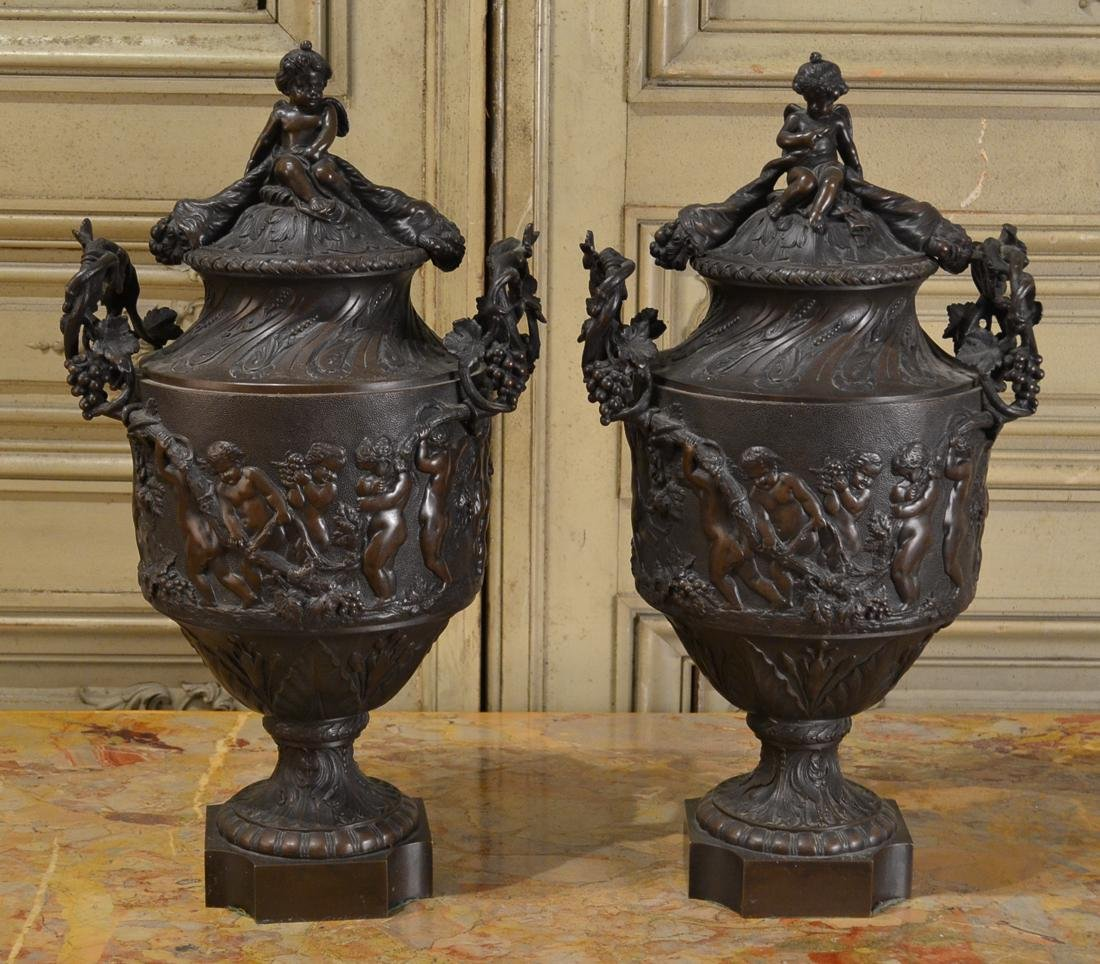 19th C. French Heavy Relief Bronze Cassolettes