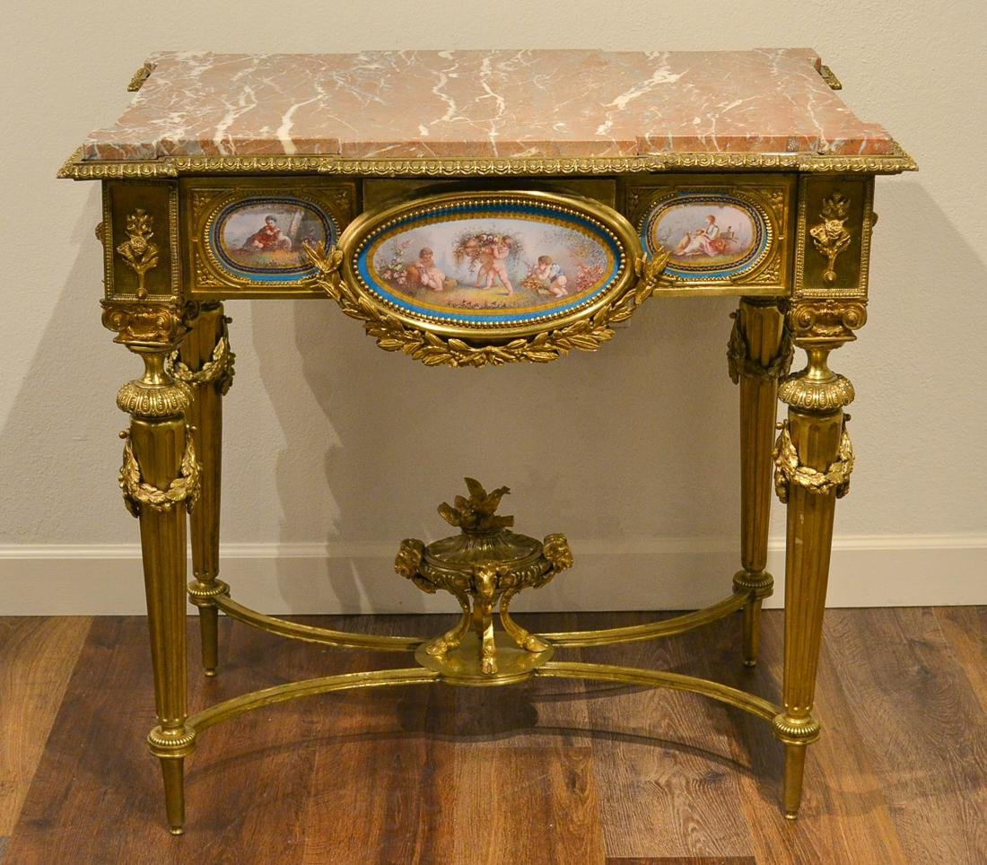 French Bronze And Sevres Porcelain Table.