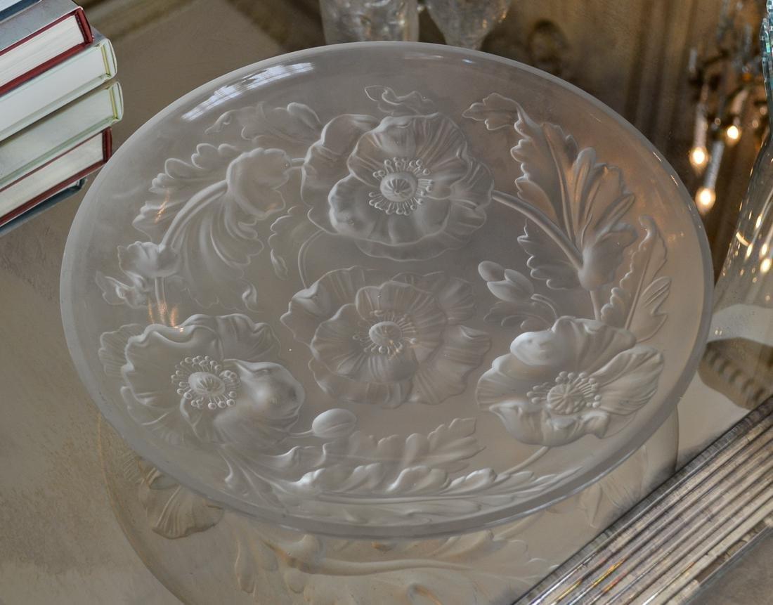 Lalique Style Intaglio Crystal Bowl.