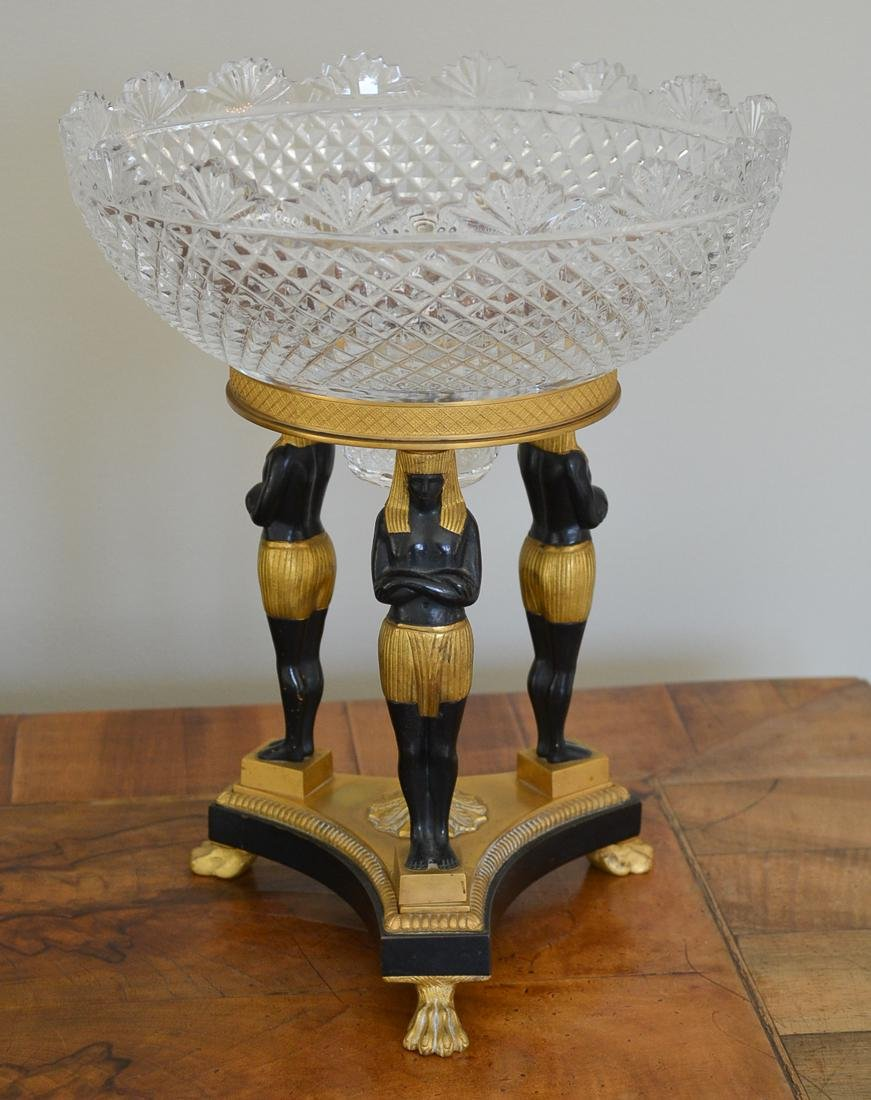 Empire Bronze & Crystal Centerpiece.