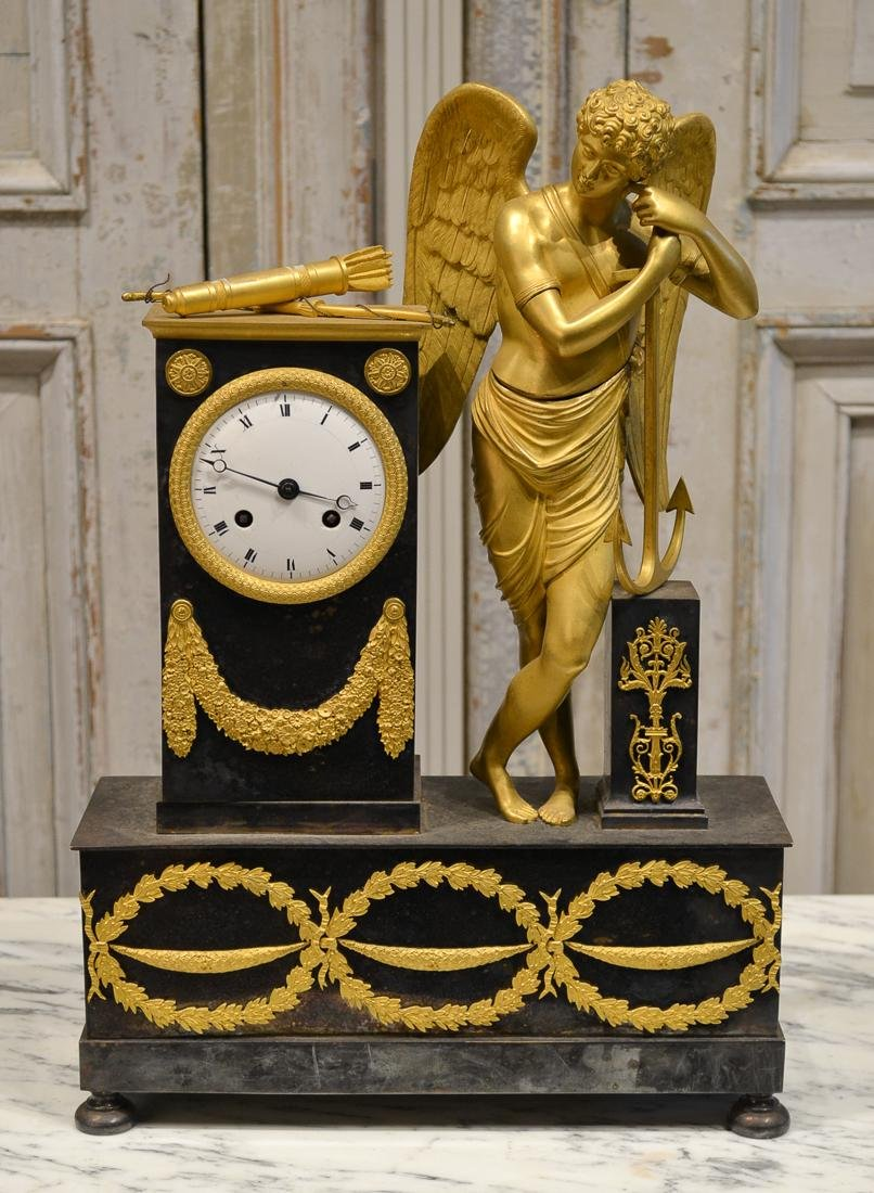 French Gilt Bronze Mantel Clock.