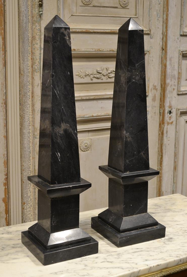Pair Of French Marble Obelisks.