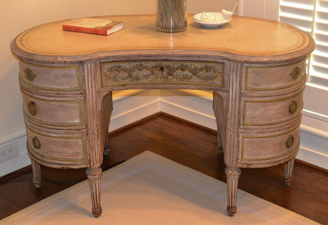 French Painted Kidney-Shaped Desk.