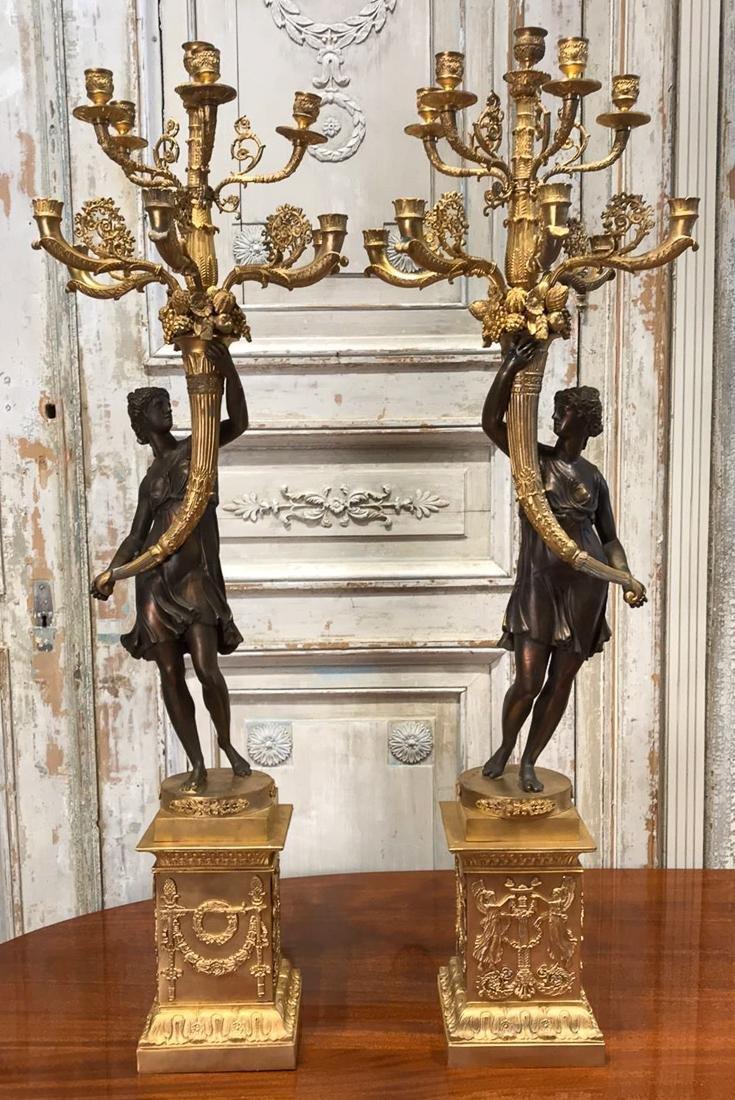 Pair Of French Bronze Candelabra.