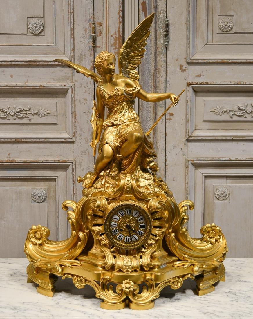 French Bronze Figural Clock, C. 1860.