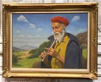 Man Playing The Flute Oil Painting.