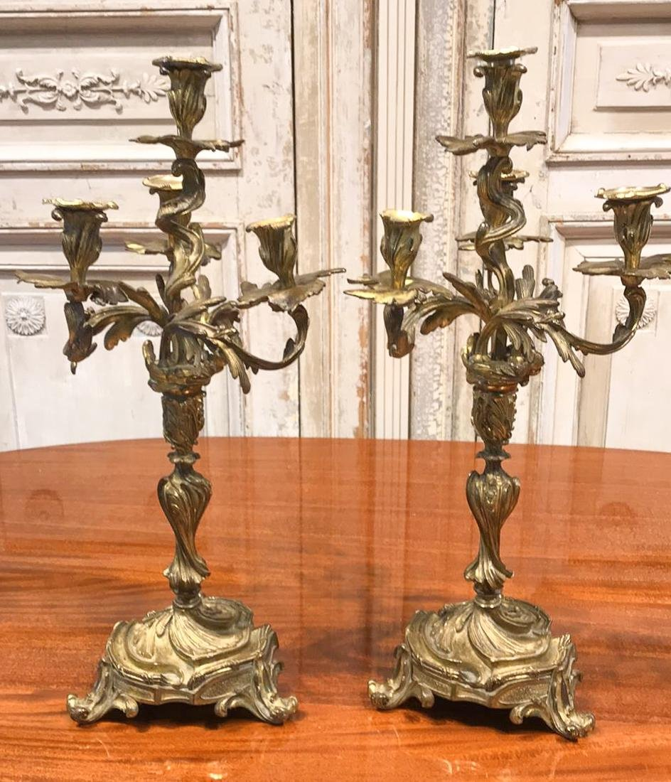 Pair Of French Bronze Candelabra.