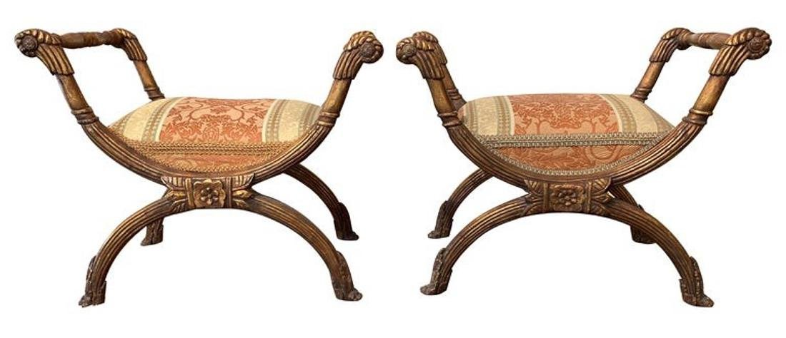 Pair Of Giltwood Benches.