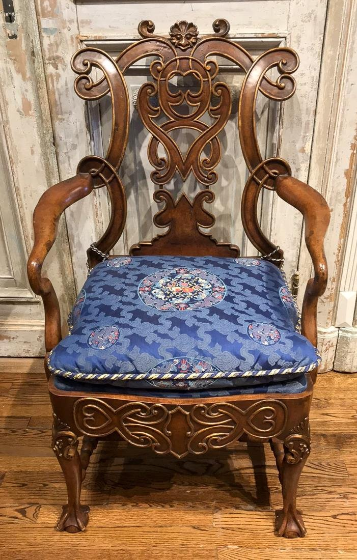 Carved Burl Wood Armchair.